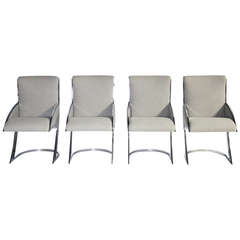 Set of Four Chrome Milo Baughman Style Dining Chairs