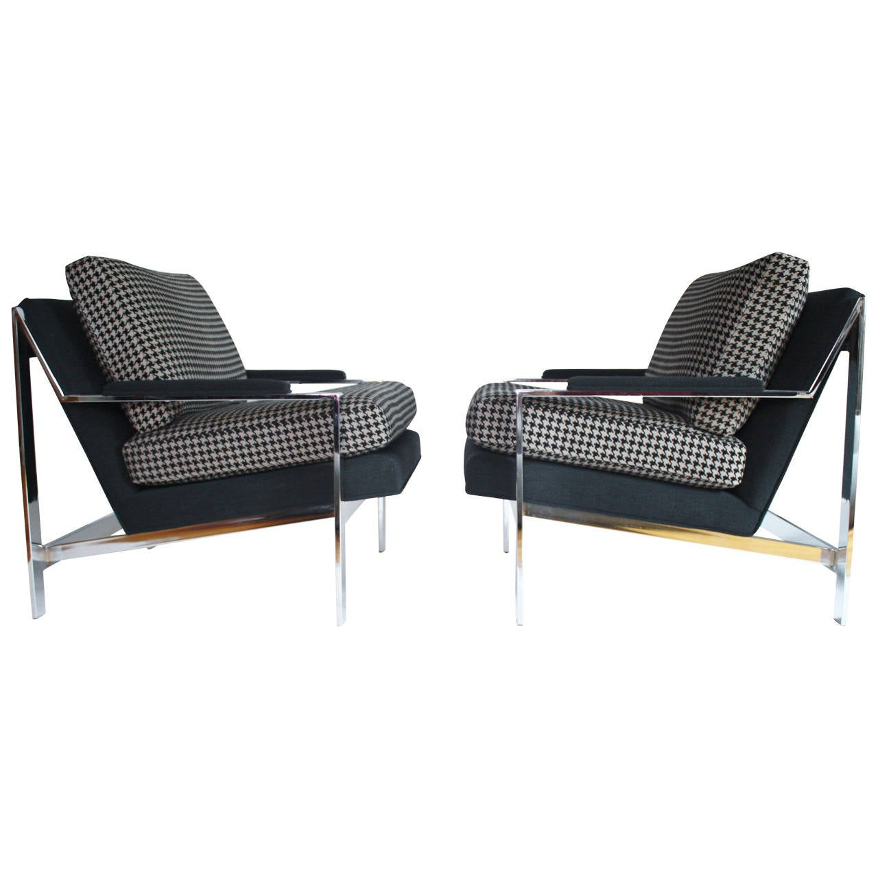 Pair of milo baughman style lounge chairs by cy mann for sale