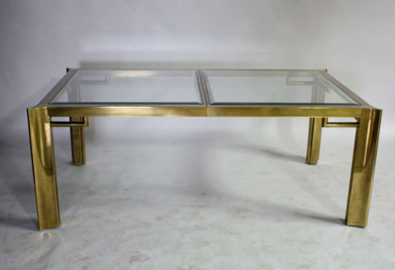 Mid-Century Modern Mastercraft Expandable Brass and Glass Dining Table For Sale