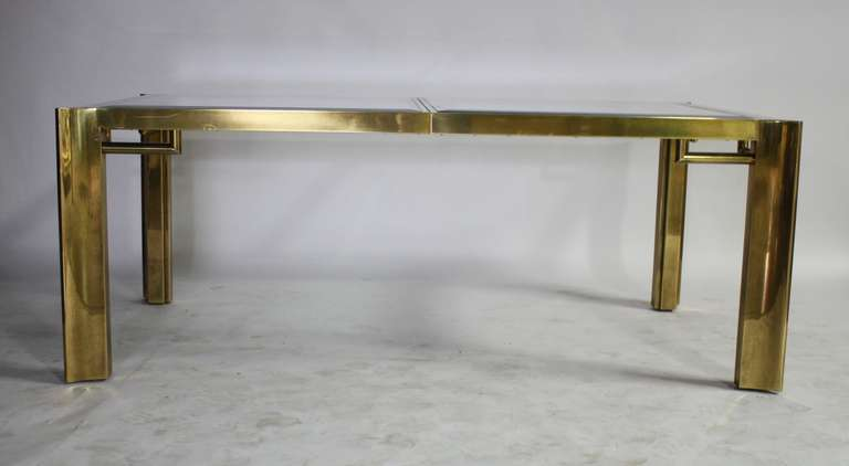 Mid-20th Century Mastercraft Expandable Brass and Glass Dining Table For Sale