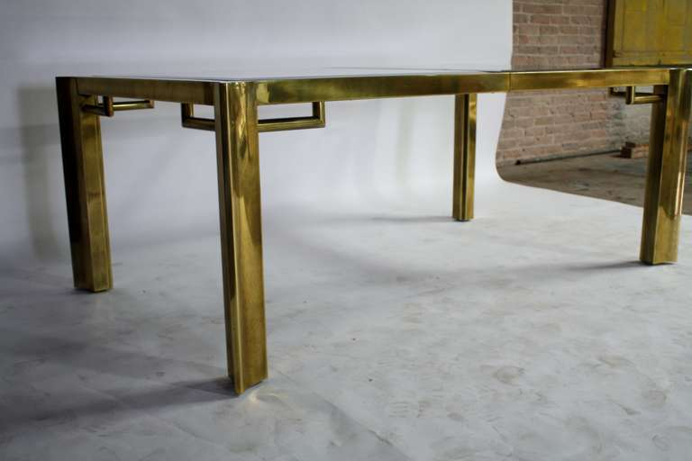 Mastercraft Expandable Brass And Glass Dining Table For Sale At
