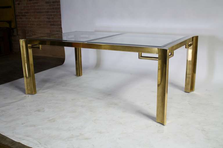 Mastercraft Expandable Brass and Glass Dining Table For Sale 2
