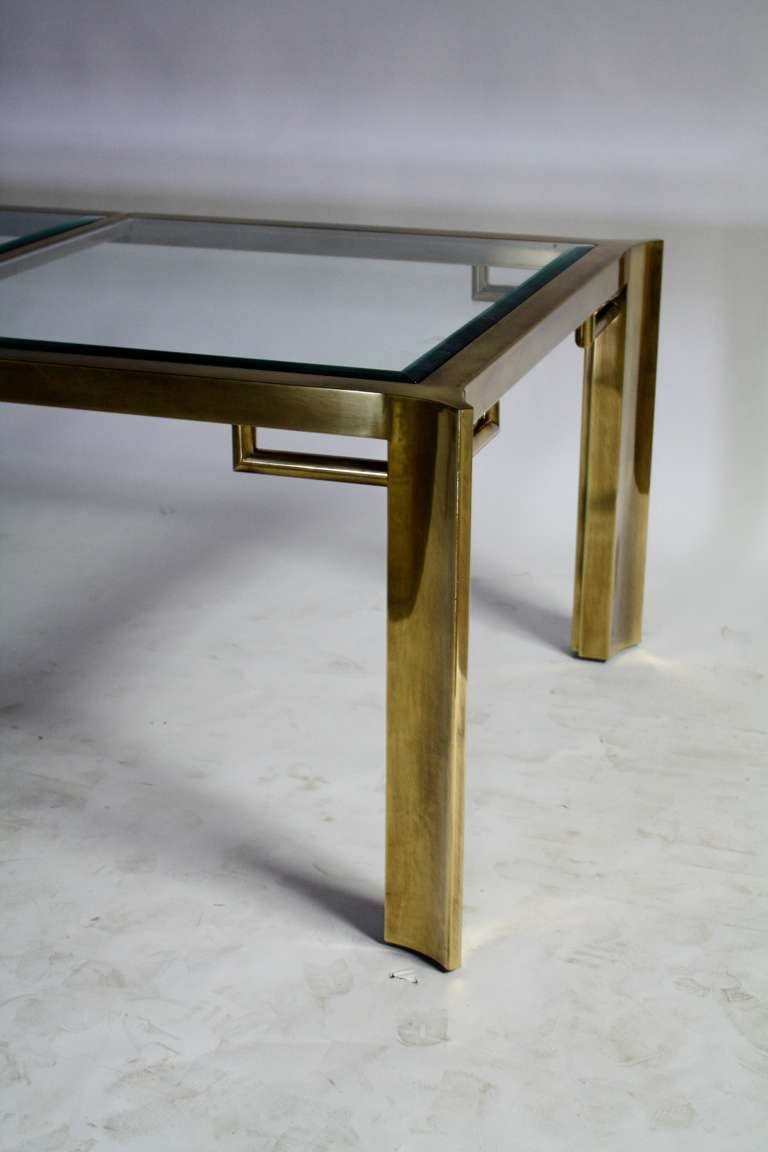 Mastercraft Expandable Brass and Glass Dining Table For Sale 3
