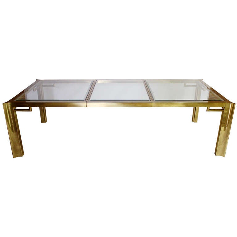 Mastercraft Expandable Brass and Glass Dining Table For Sale