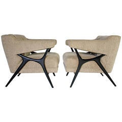 Sculptural Frame Lounge Armchairs in the Style of Kagan