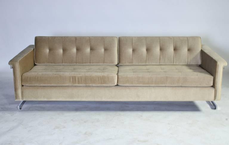 Cantilevered Chrome and Wood Frame Mohair Sofa 3
