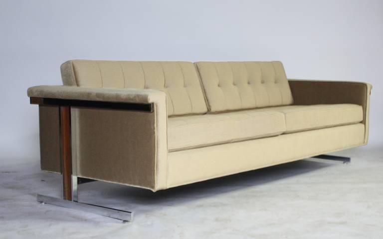 Cantilevered Chrome and Wood Frame Mohair Sofa 2