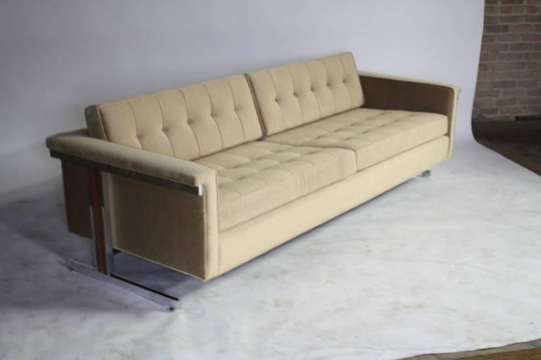 Cantilevered Chrome and Wood Frame Mohair Sofa 4