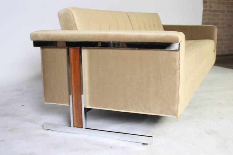 Cantilevered Chrome and Wood Frame Mohair Sofa 5
