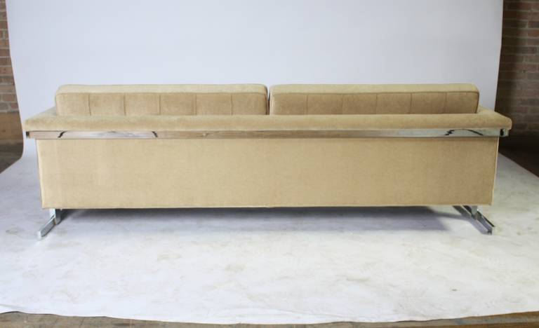 Cantilevered Chrome And Wood Frame Mohair Sofa At 1stdibs