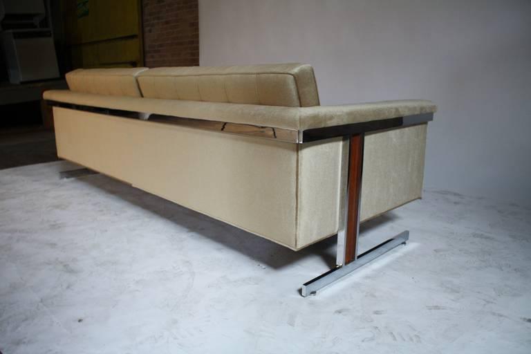 Cantilevered Chrome and Wood Frame Mohair Sofa 7