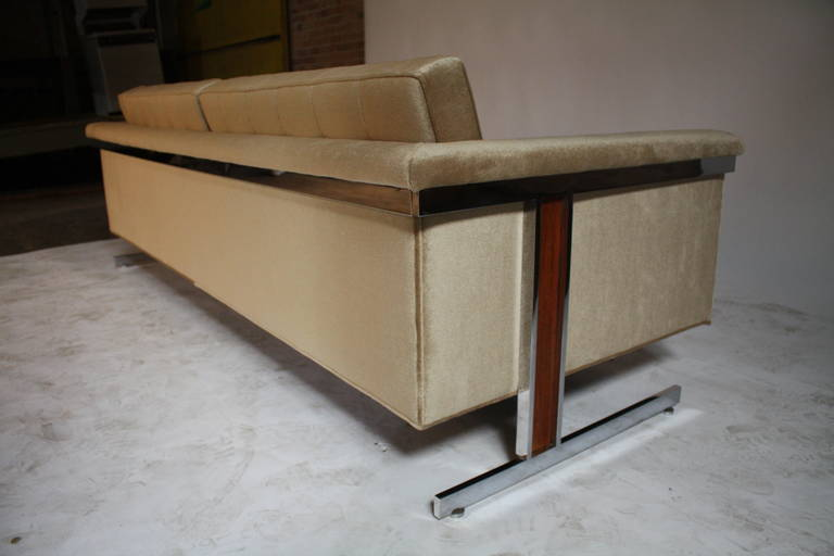 Cantilevered Chrome and Wood Frame Mohair Sofa 8