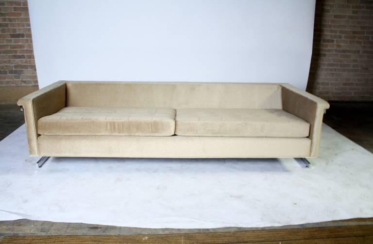 Cantilevered Chrome and Wood Frame Mohair Sofa 9