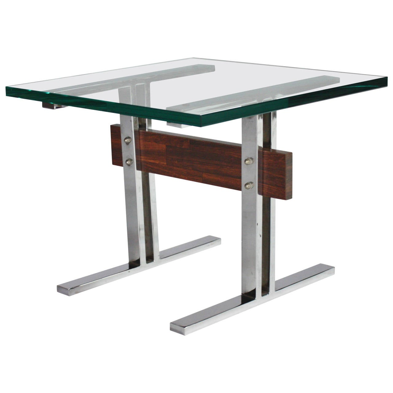 Chrome And Glass End Table With Rosewood Beam At 1stdibs