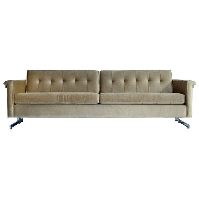 Cantilevered Chrome and Wood Frame Mohair Sofa 1