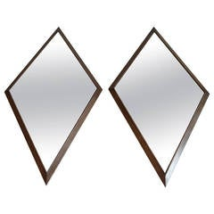 Pair of Mid-Century Diamond Shape Mirrors