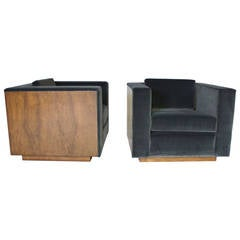 Pair of wood frame cube club chairs by Milo Baughman