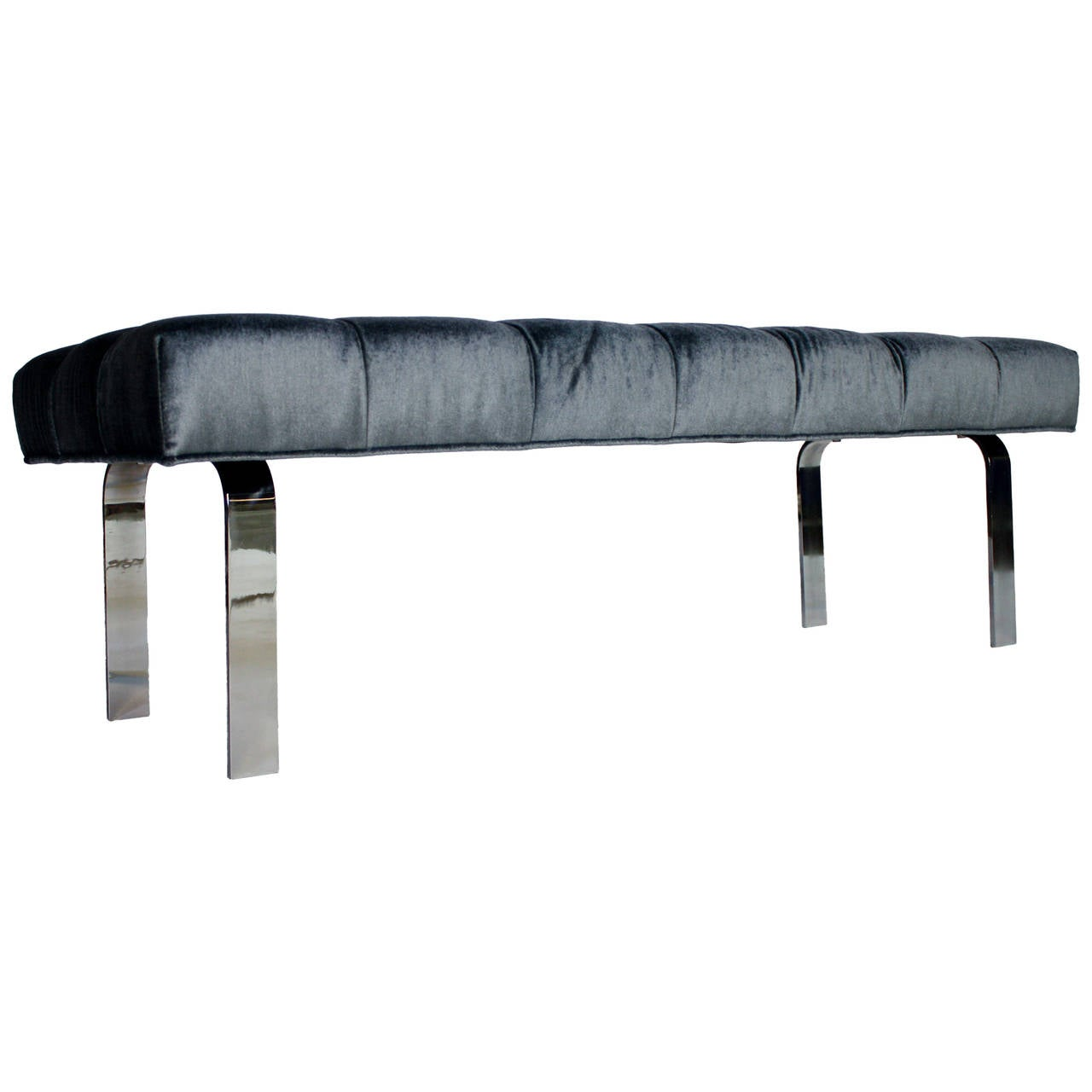1970s Steel Frame and Steel Blue Mohair Tufted Bench 1