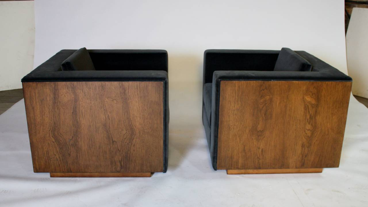 Pair of Wood Frame Cube Club Chairs by Milo Baughman 5
