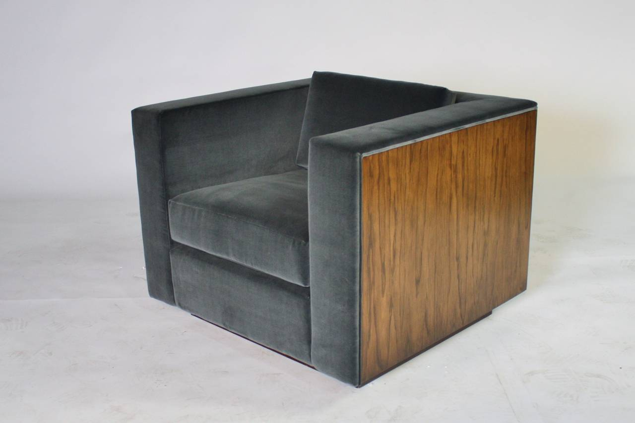 Pair of Wood Frame Cube Club Chairs by Milo Baughman 4