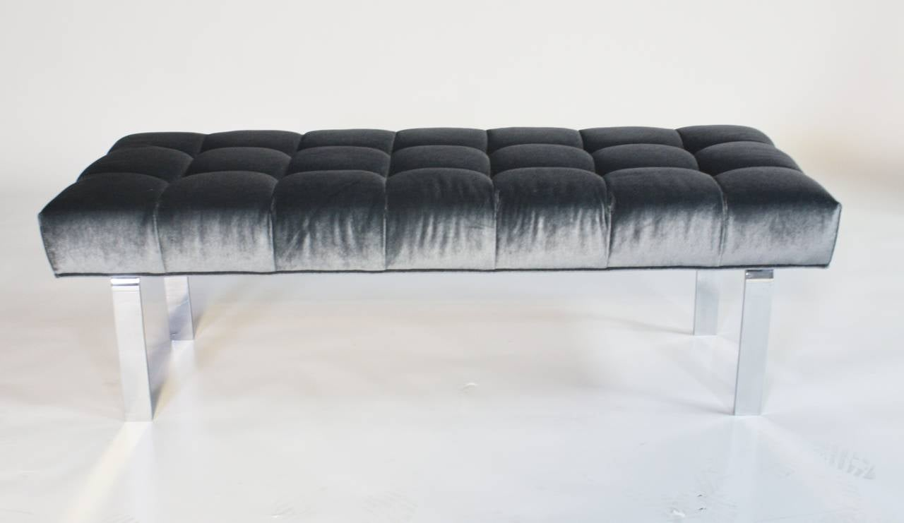 1970s Steel Frame and Steel Blue Mohair Tufted Bench 5