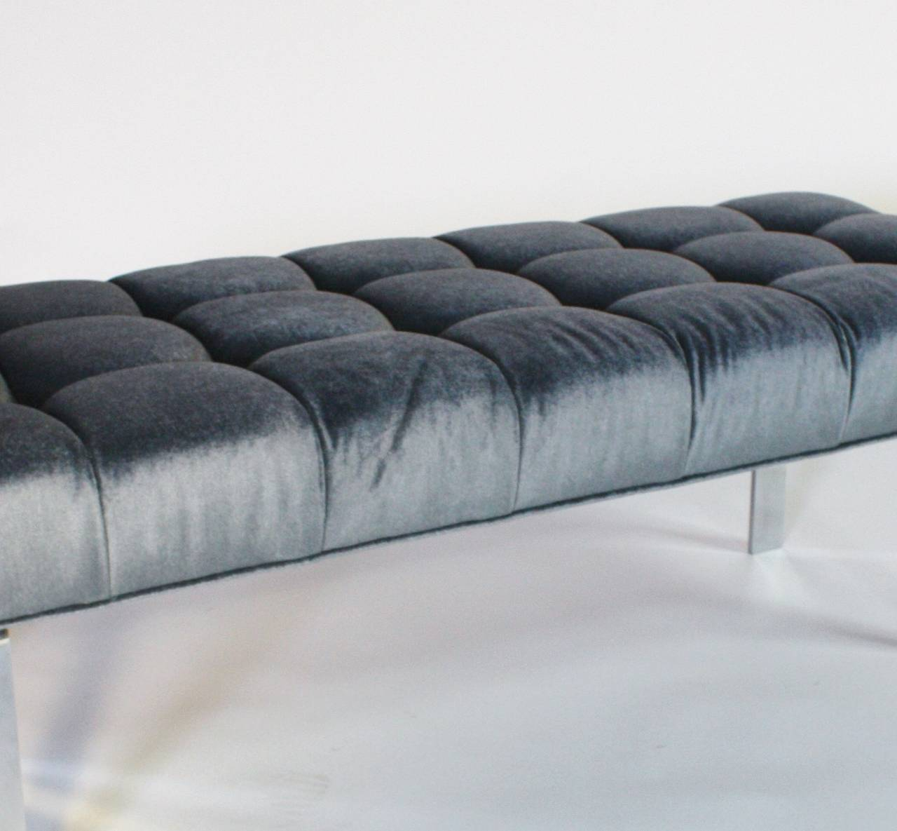 1970s Steel Frame and Steel Blue Mohair Tufted Bench 2
