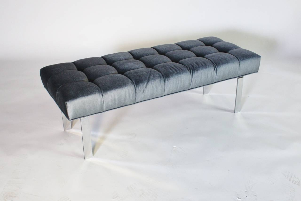 1970s Steel Frame and Steel Blue Mohair Tufted Bench 3