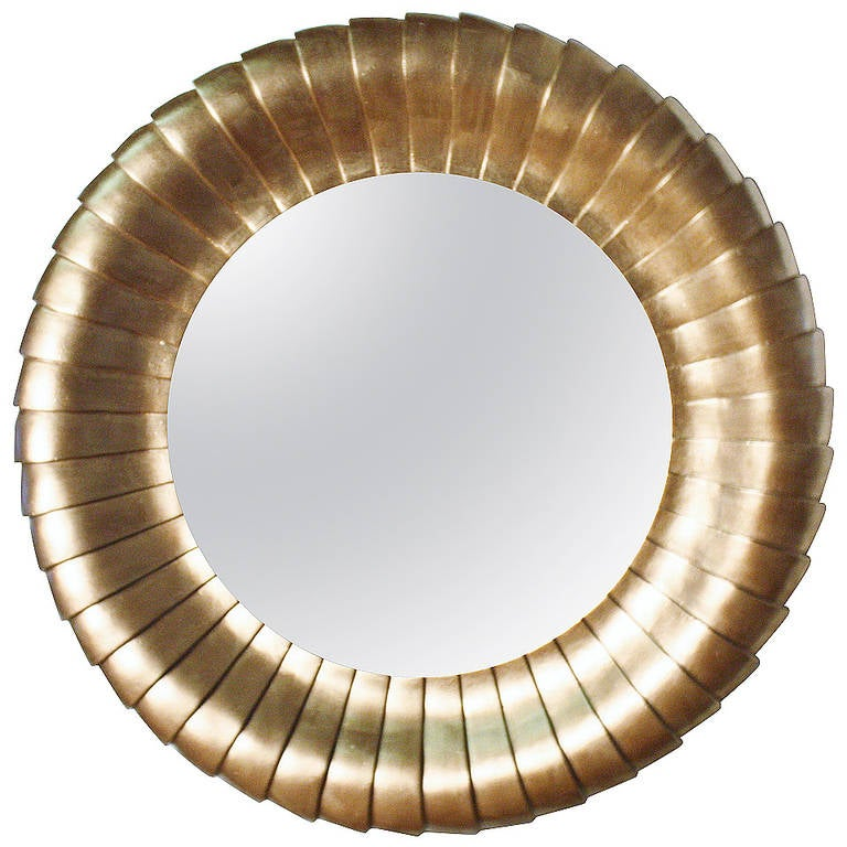 Large round gold gilt mantel mirror at 1stdibs for Mantel mirrors