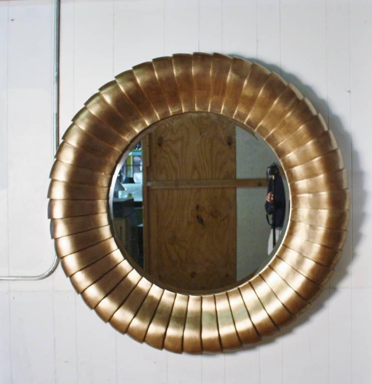 Large round gold gilt mantel mirror at 1stdibs for Large round gold mirror
