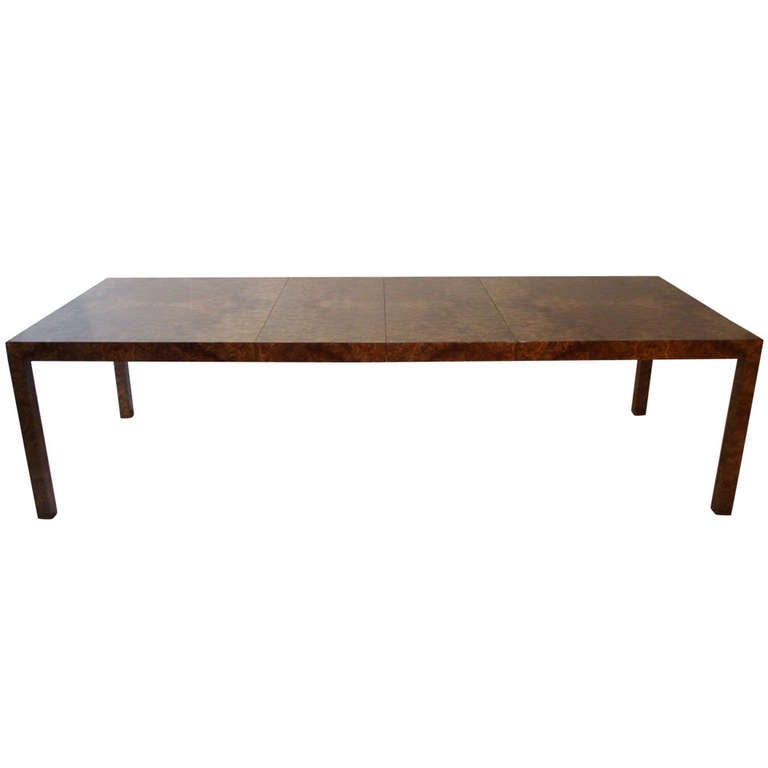 Milo Baughman Olive Burl Wood Parsons Dining Table At 1stdibs