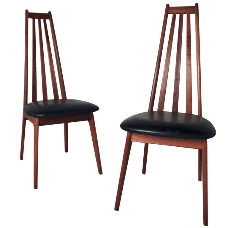 Pair of high back danish modern chairs at 1stdibs for Modern high back dining chairs