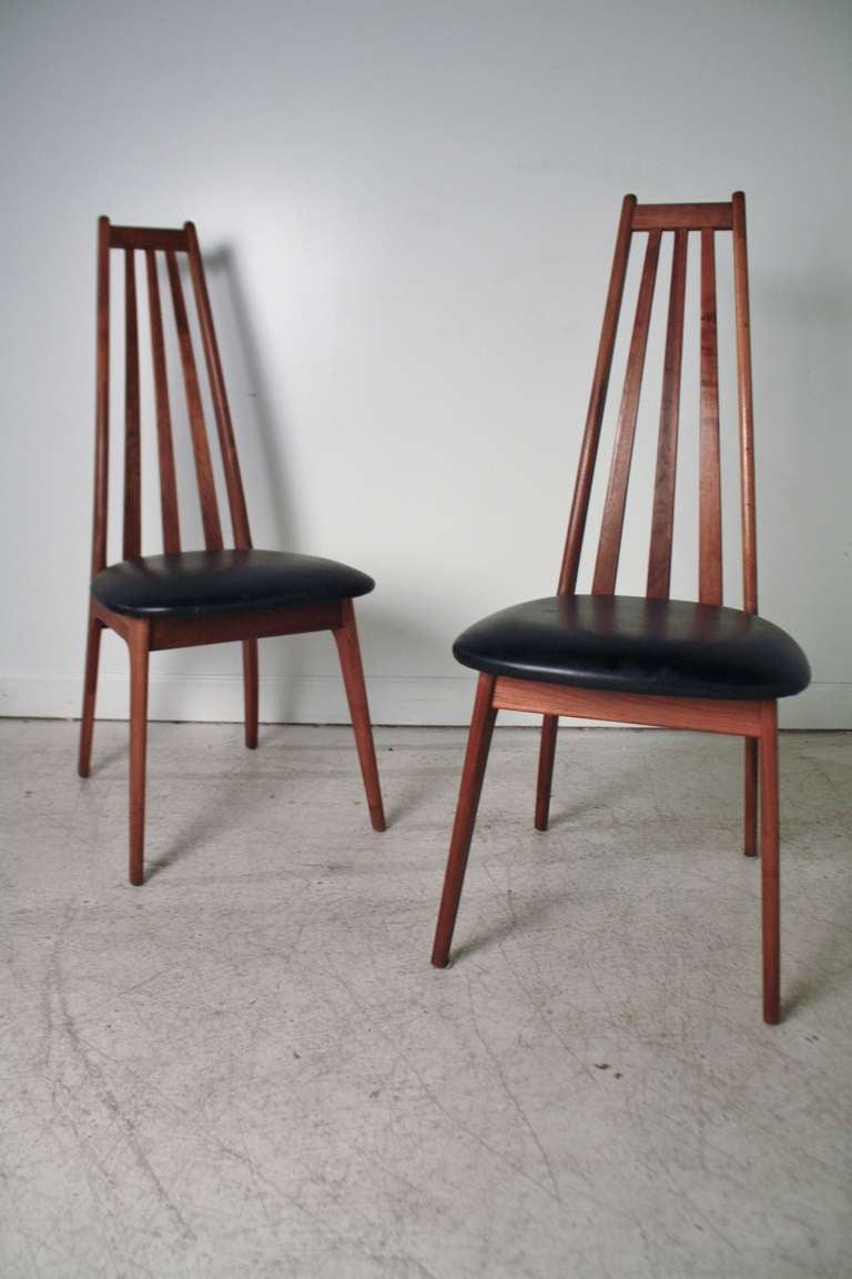 Pair Of High Back Danish Modern Chairs At 1stdibs