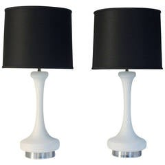 Laurel White Satin Glass Lamps