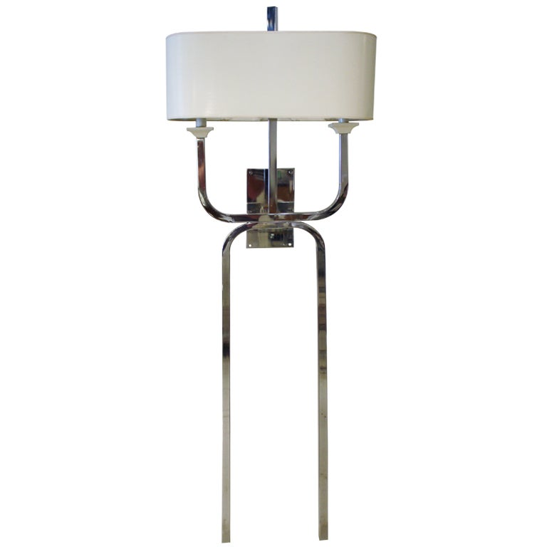 chrome wall sconce with drum shade at 1stdibs