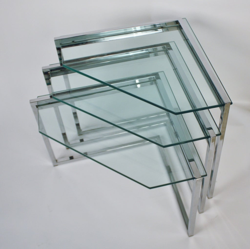 Set Of Three Chrome And Glass Nesting Tables For Sale At 1stdibs