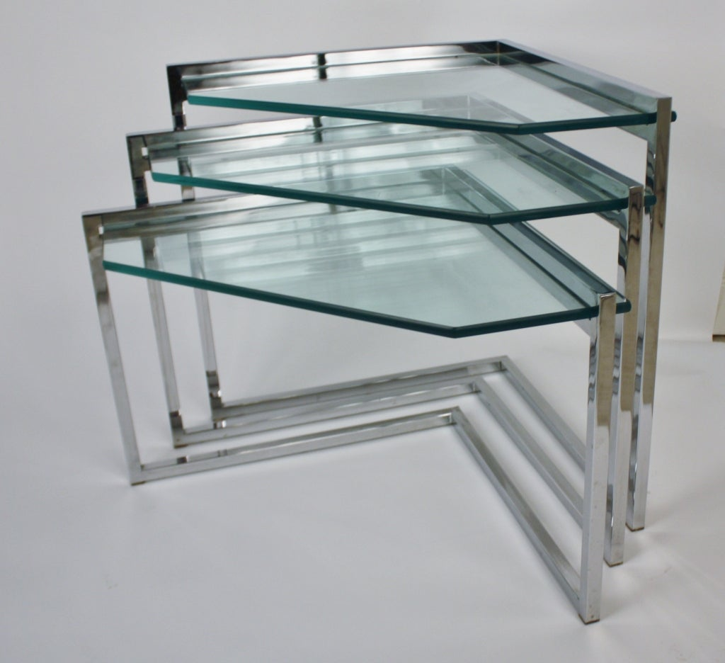 Set Of Three Chrome And Glass Nesting Tables At 1stdibs