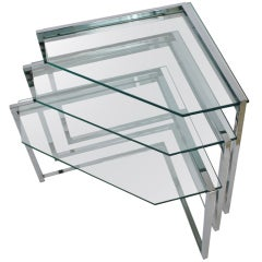 Set of Three Chrome and Glass Nesting Tables