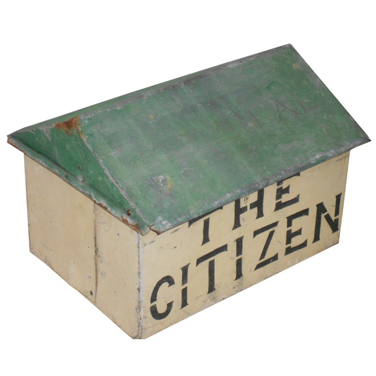 Vintage tin newspaper mail box at 1stdibs