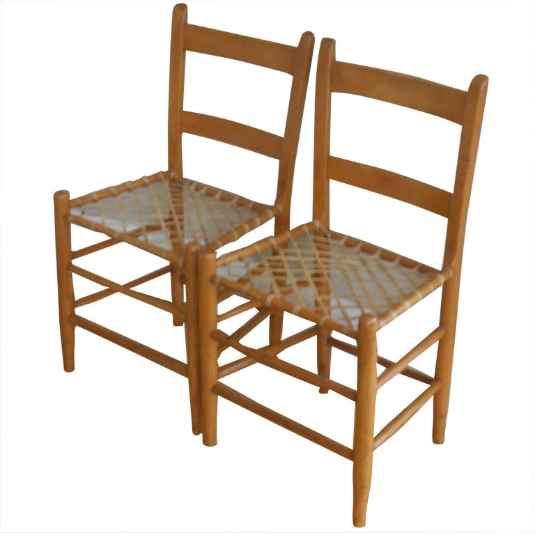 19th C. Chairs With Hand Woven Snowshoe Webbing (pair) 1