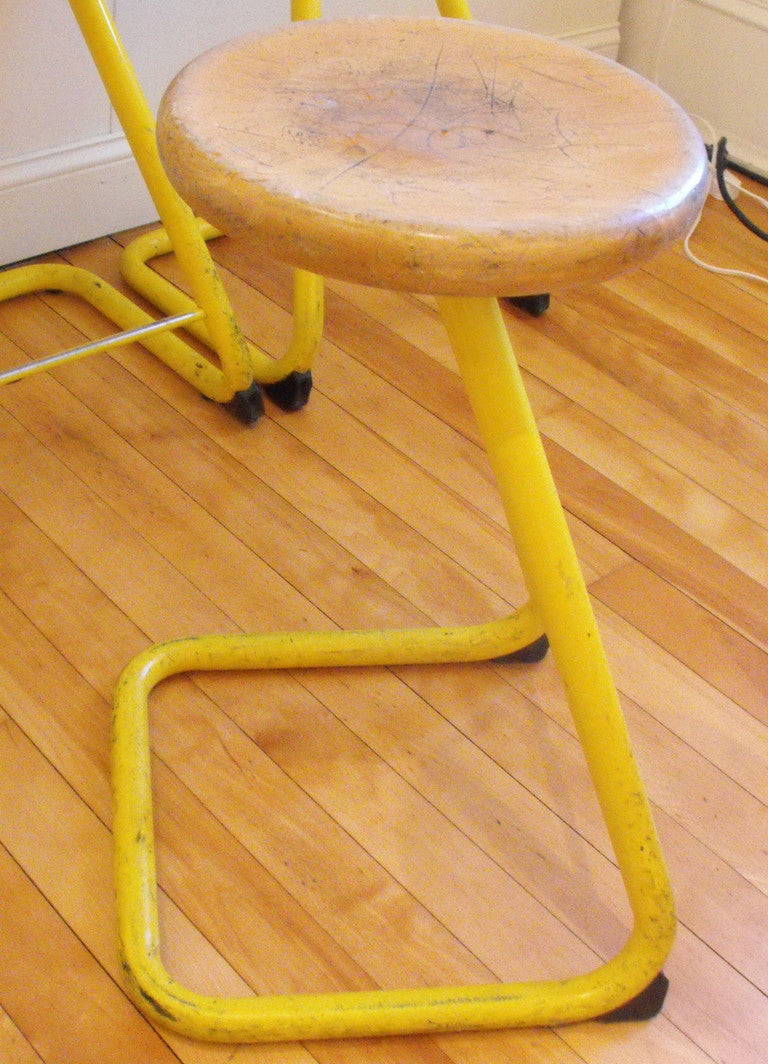 Industrial Stools With Steel Bases And Maple Seats Set Of