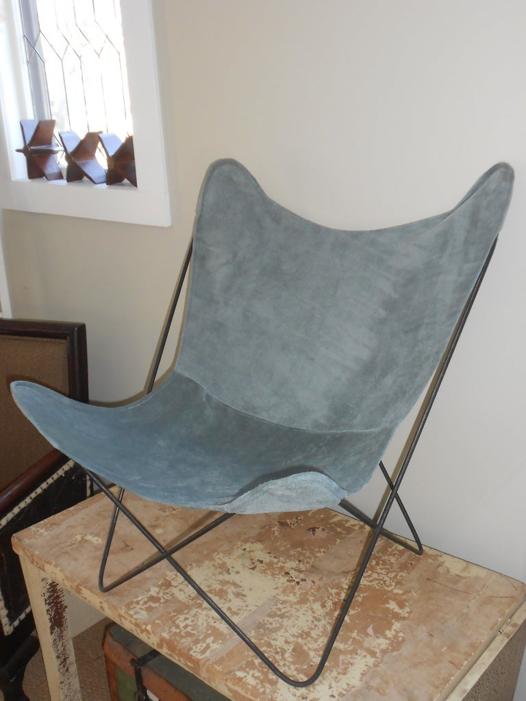 Vintage Butterfly Chair With Suede Cover At 1stdibs