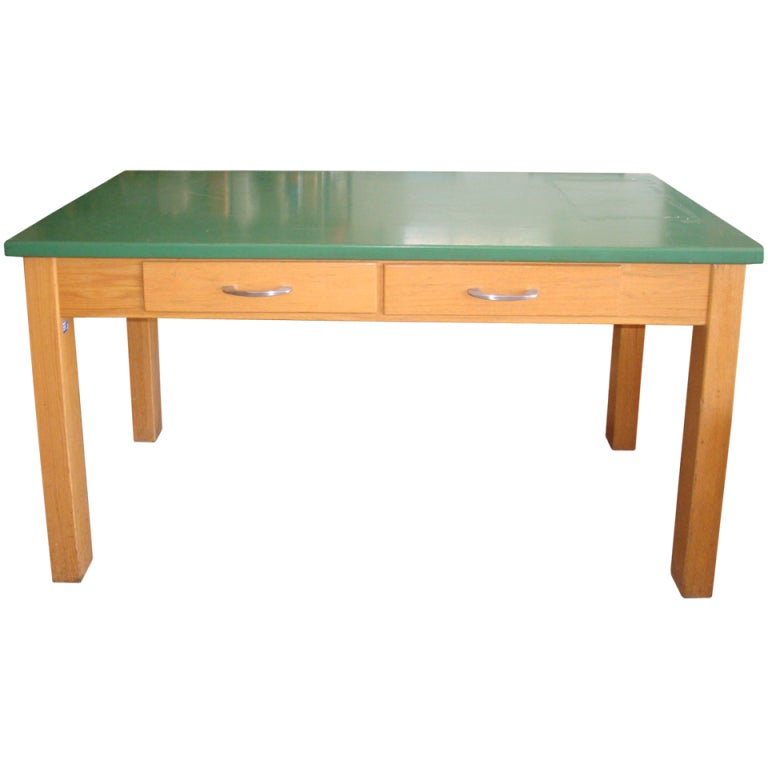 School Lab Table with oak base and epoxy resin top; two available ...