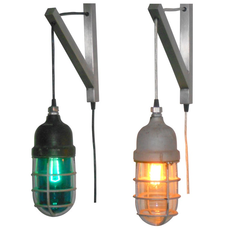 Industrial Caged Pendant With Rivets: Industrial Ying/yang Caged Pendant Lights, Blue And Clear