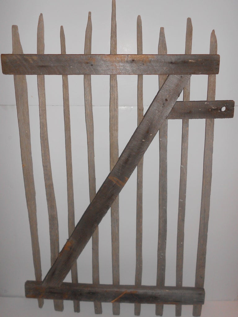 Primitive Garden Gate of hand-hewn stakes 7