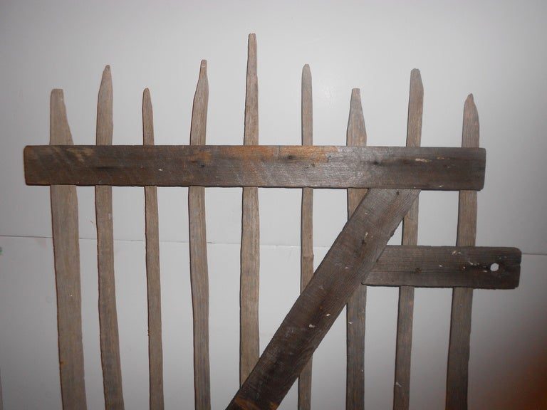 Primitive Garden Gate of hand-hewn stakes 8