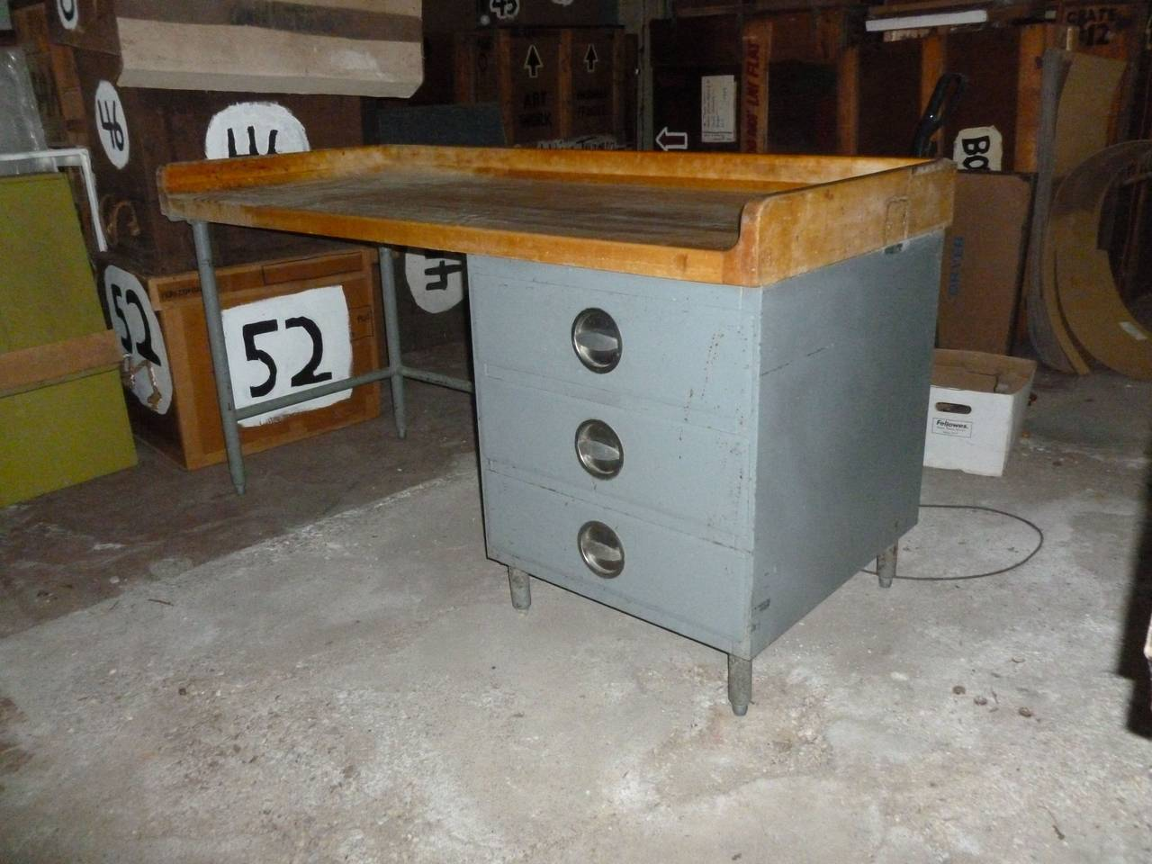 Kitchen Island Food Prep Table With Maple Top Steel Frame