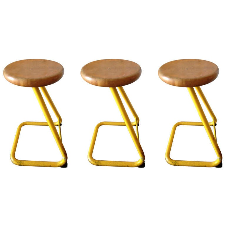 Industrial Student Art Stools With Steel Frames And Maple