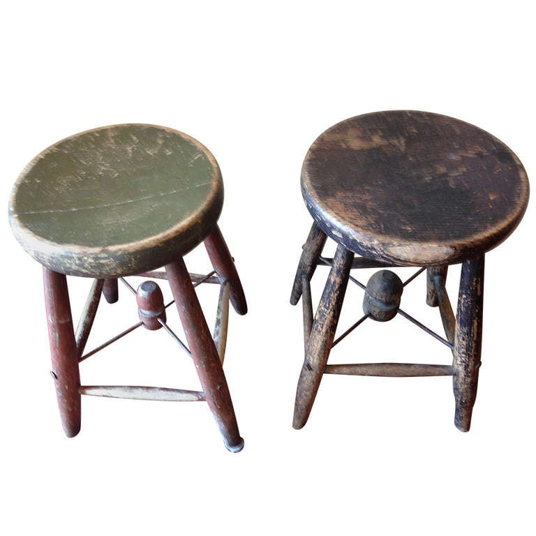 Early 1900s Maine Schoolroom Wooden Stools Pair At 1stdibs