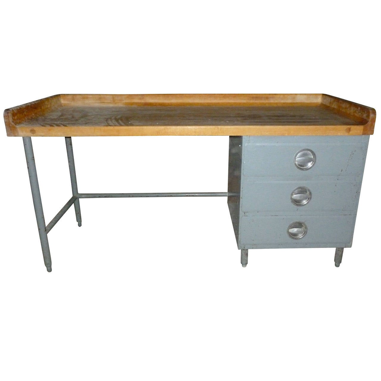 kitchen island food prep table with maple top steel frame and