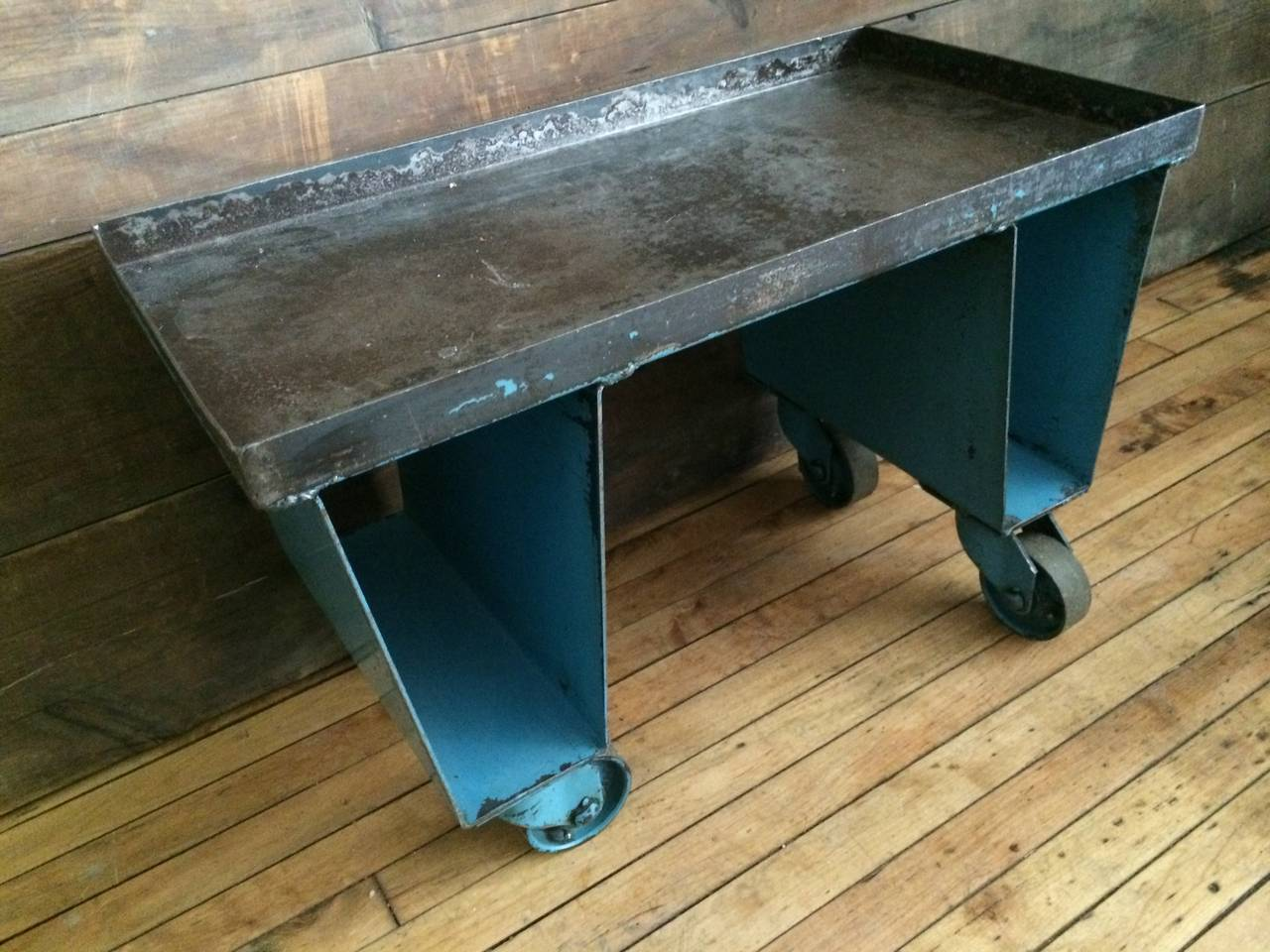 factory cart of steel with wheels as end  side or coffee table at 1stdibs